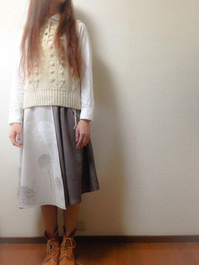 レイヤー付きギャザースカート♪/紅花柄の画像1枚目