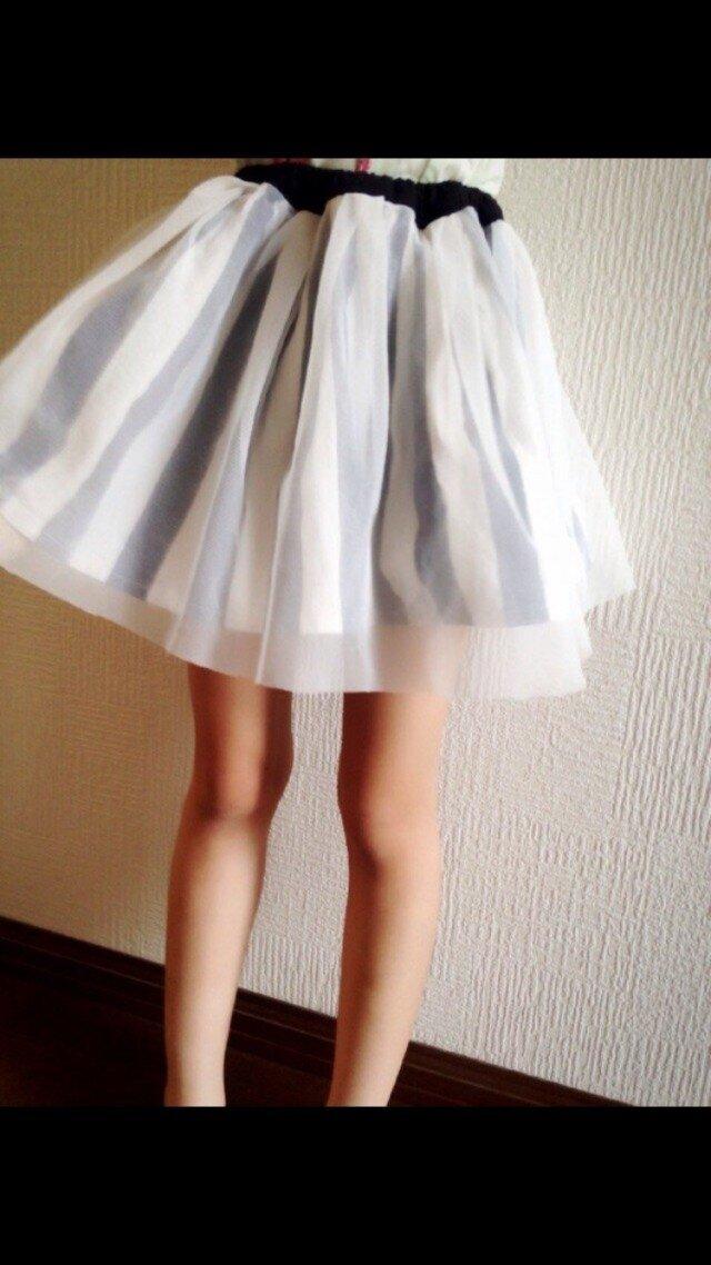 チュール ストライプスカートの画像1枚目