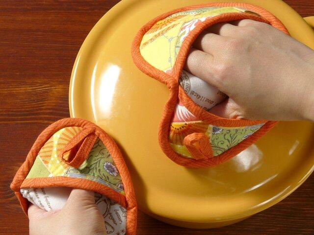 鍋つかみ(そらまめ)のペア ~春のきざし~ オレンジの画像1枚目
