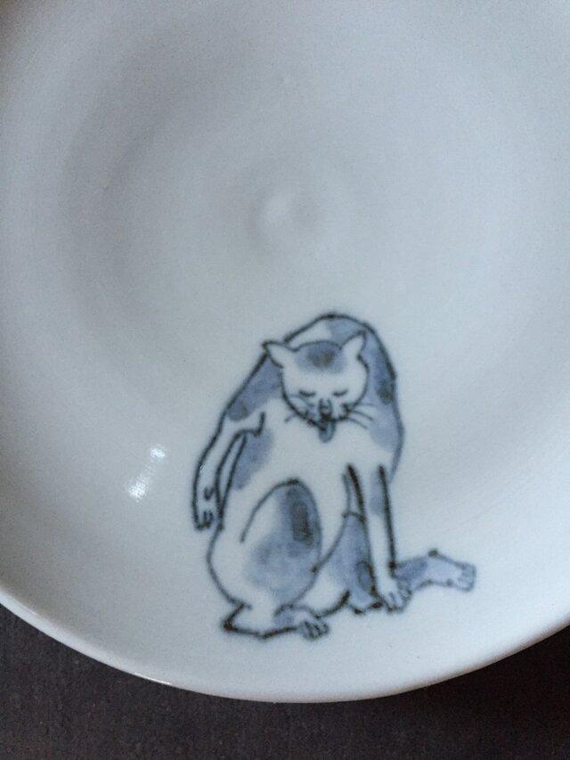 染付5寸猫皿 28の画像1枚目