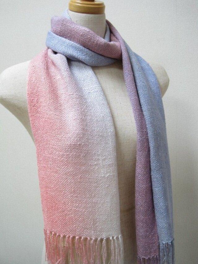 虹染 シルク 100%真綿紬  ストールの画像1枚目