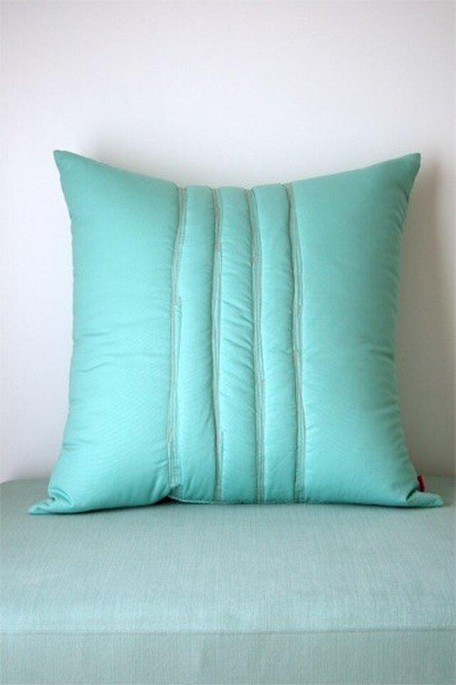 Quilt cushion (L) / jade greenの画像1枚目