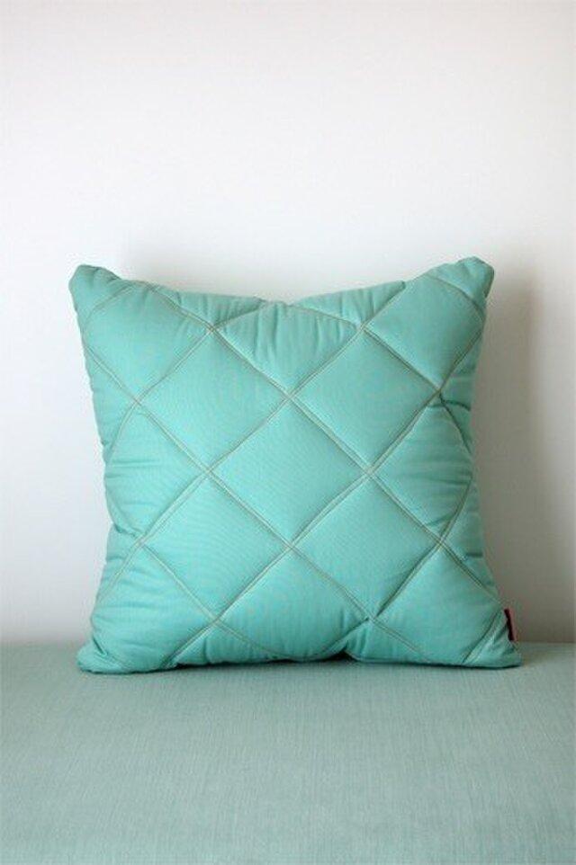 Quilt cushion (M) / jade greenの画像1枚目