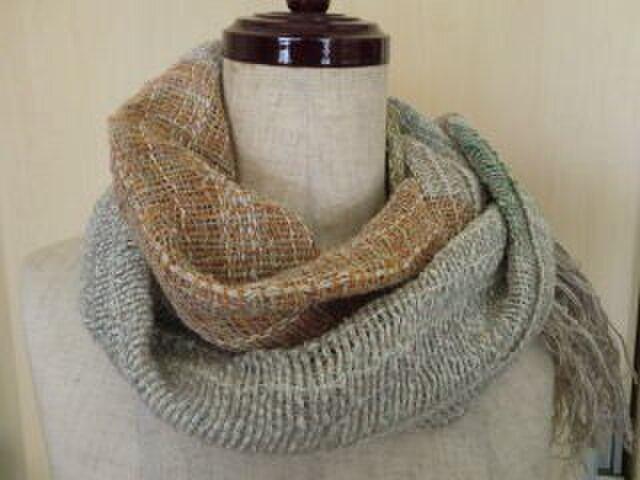 《手織り》麻と綿のさらっとしたマフラー ベージュ系の画像1枚目