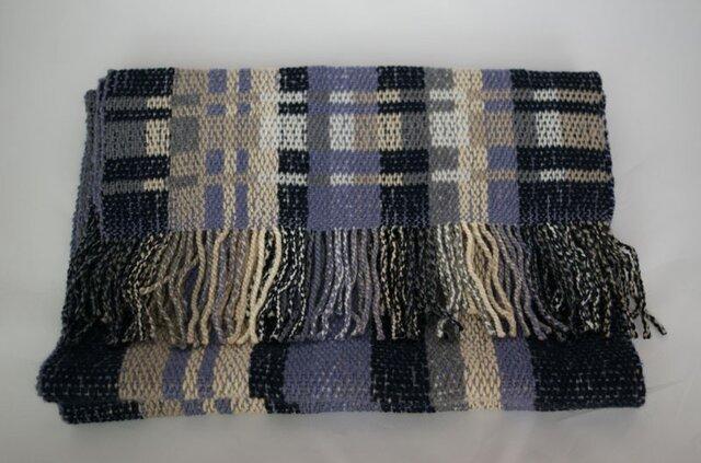 昼夜織りマフラー(青・グレー)の画像1枚目