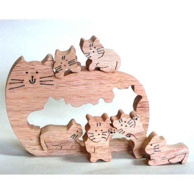 切抜き猫(組木)の画像1枚目