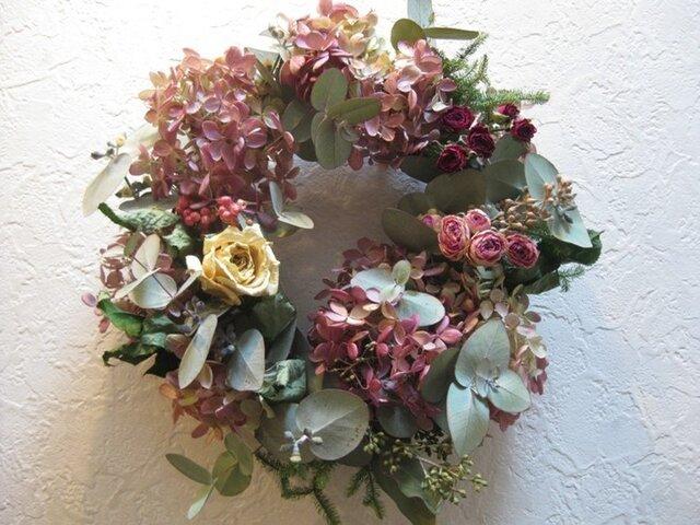 バラとミナズキの早春wreathの画像1枚目