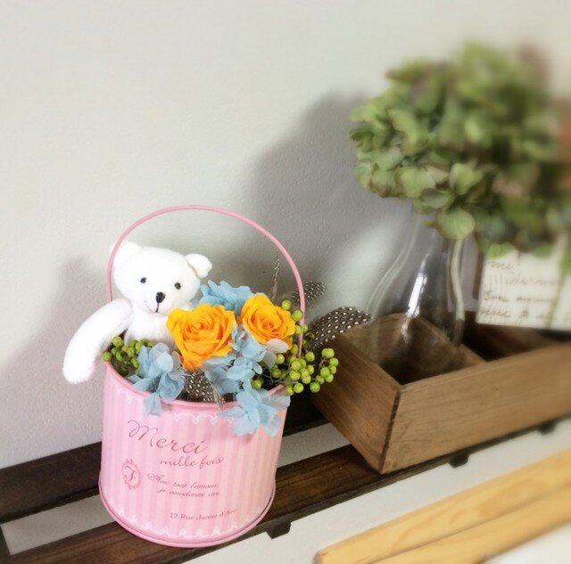 くまさんのアレンジ・★入・卒園式に★【プリザーブドフラワー】の画像1枚目