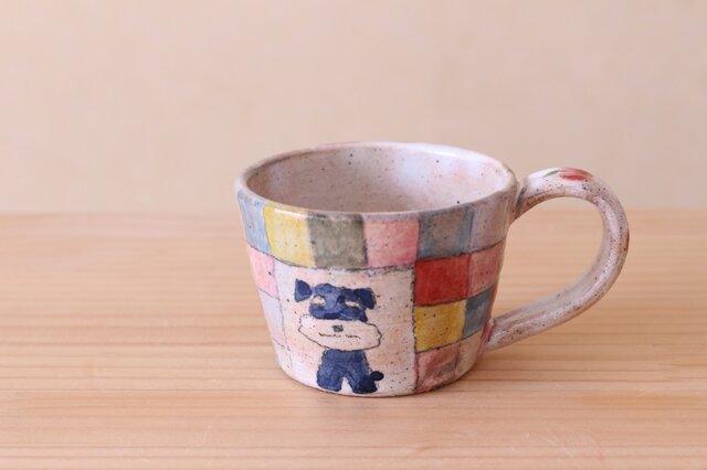 粉引きシュナウザーのカラフルチェックカップの画像1枚目
