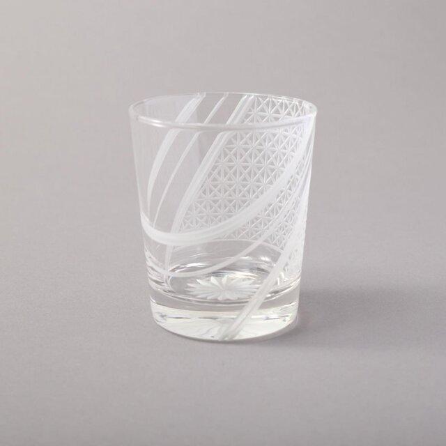 羽衣- 東京切子(花切子)ロックグラス 麻の葉の画像1枚目