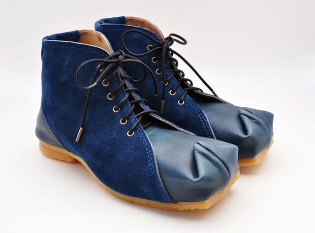『tote boots』navy smooth&suede leatherの画像1枚目