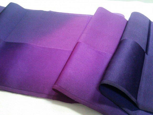 紫ぼかし染め 正絹はぎれ布① 17㎝×160㎝の画像1枚目