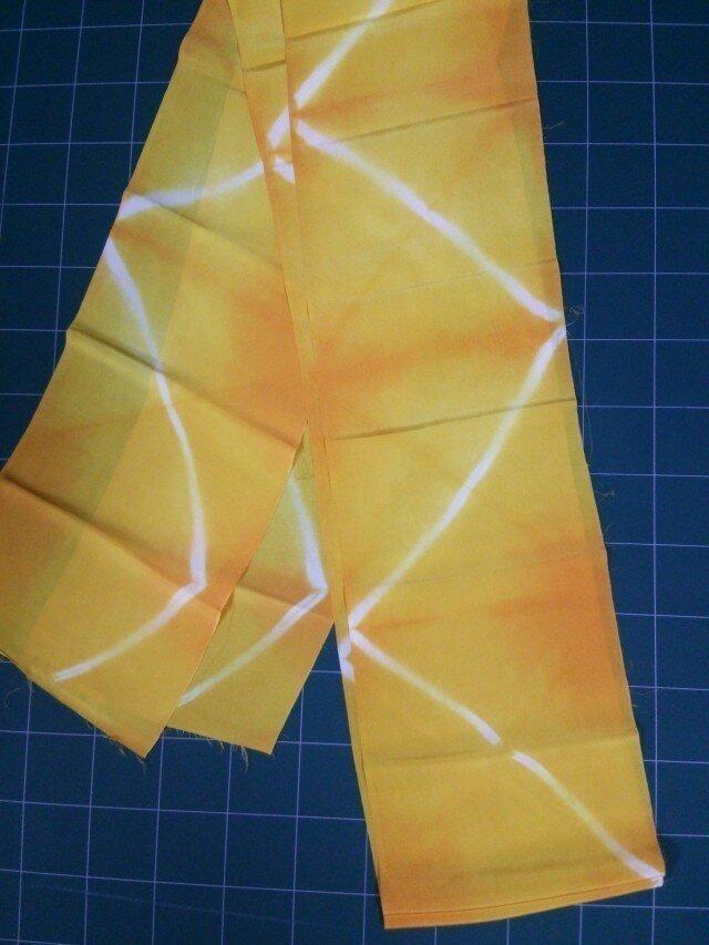 黄色 正絹はぎれ布②260㎝×19㎝の画像1枚目