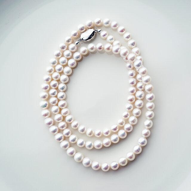 良質淡水真珠の80cmロングネックレス ~Suzanne_80の画像1枚目