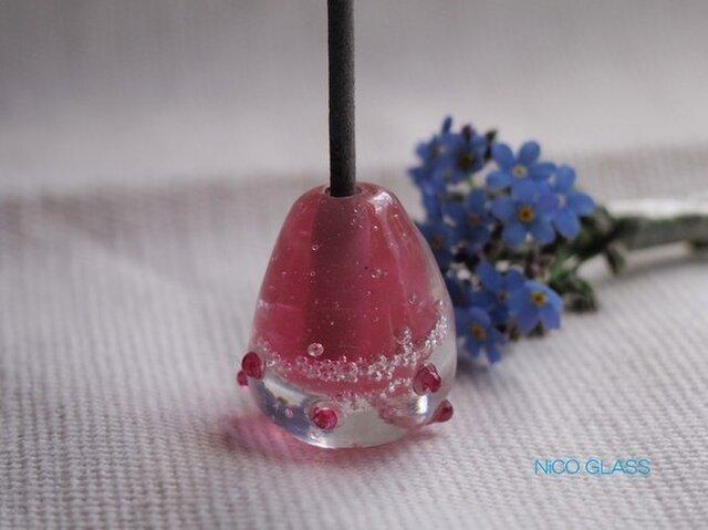 ぽったりコロン♪ガラスのお香立て・ピンクつぶつぶ付の画像1枚目