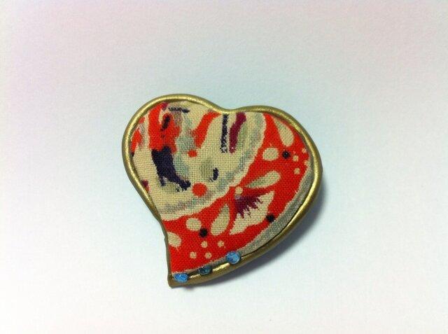 古布と粘土のコラボ・ブローチの画像1枚目