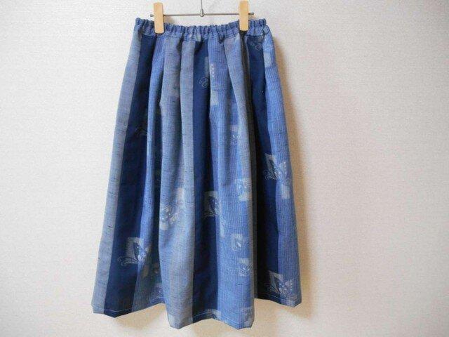 着物ウール地のブルー爽やかスカートの画像1枚目