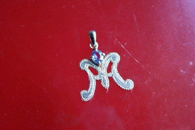 Initial Pendant 『M』 Sapphireの画像1枚目