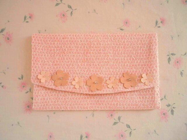 かわいいピンクの春色懐紙入れ(フラワーモチーフ付き)の画像1枚目