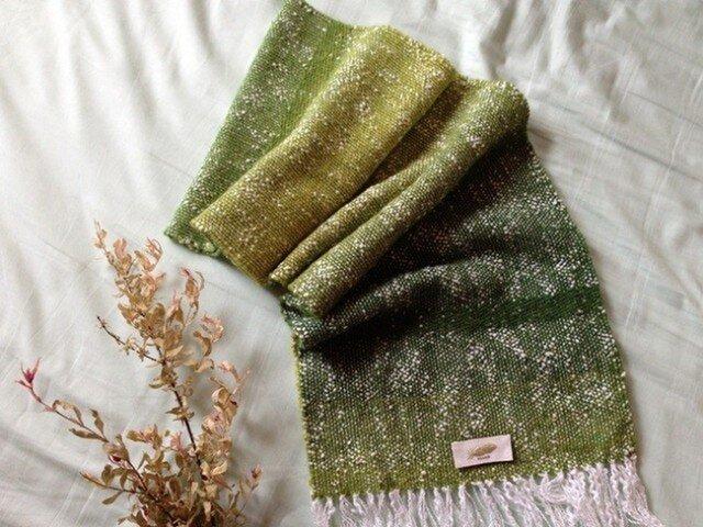 手織り リトアニアウール&コットン グリーン の画像1枚目