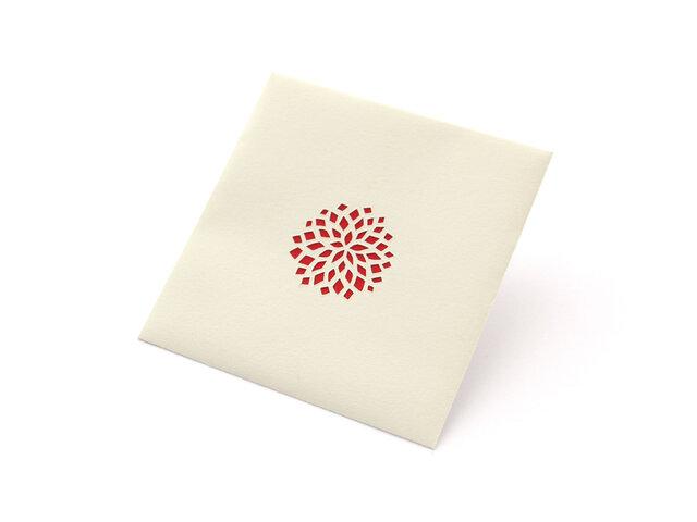 【切り絵のぽち袋】 ダリア(赤)(大サイズ) 2枚入りの画像1枚目