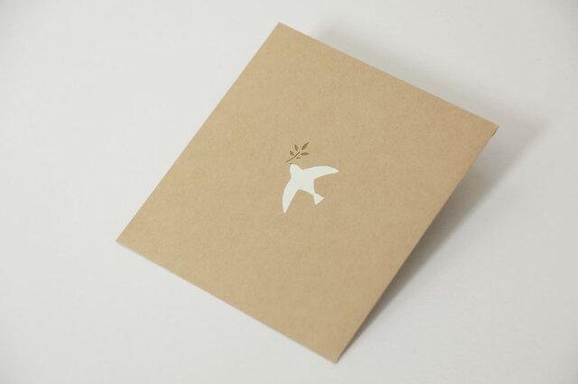【切り絵ぽち袋】 白い鳥(大サイズ) 2枚セットの画像1枚目