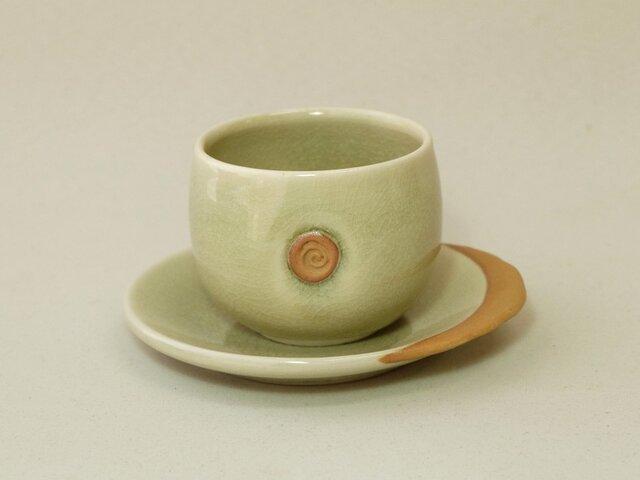 灰釉湯呑と茶托の画像1枚目