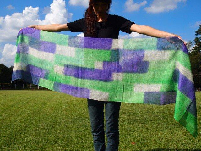 国産シルク100%手染めストール -green&violet-の画像1枚目