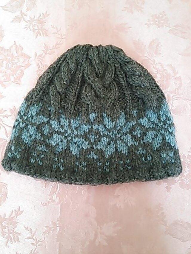 ふわふわニットのお帽子(グレー&ブルー)の画像1枚目