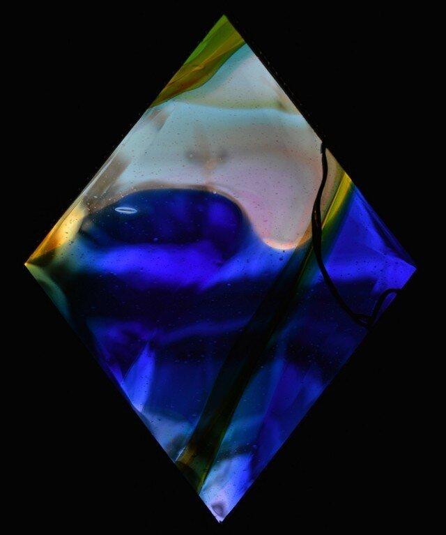 ブルー&イエローのガラスパネルの画像1枚目