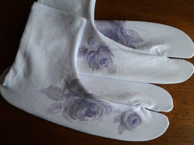 墨絵風の薔薇の足袋 ストレッチの画像1枚目