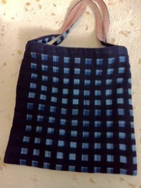 ■手織り/藍染濃淡/正方ミニバックの画像1枚目