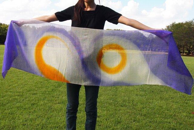 国産シルク100%手染めストール -violet&yelow-の画像1枚目