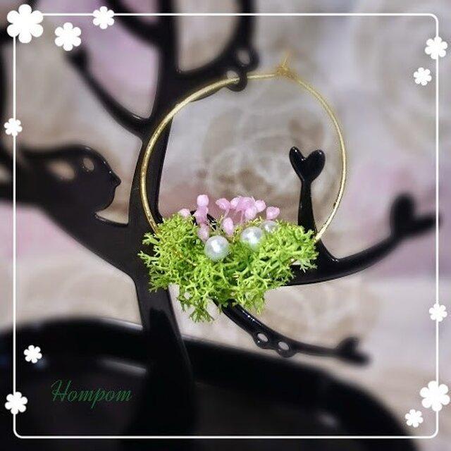春・お花畑ループピアス1 ホムポムの画像1枚目