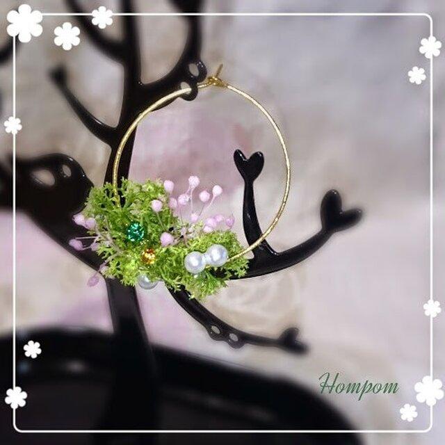 春・お花畑ループピアス2 ホムポムの画像1枚目