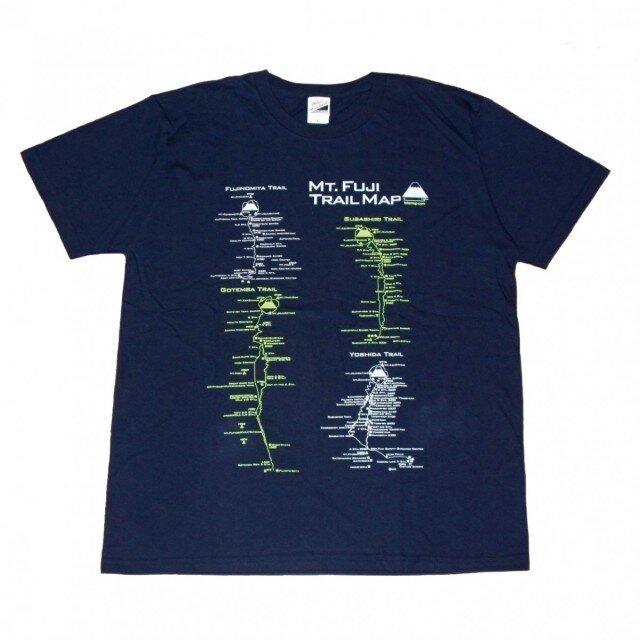 富士山トレイルマップ(登山道)Tシャツ (S~2XLサイズ) ネイビーの画像1枚目