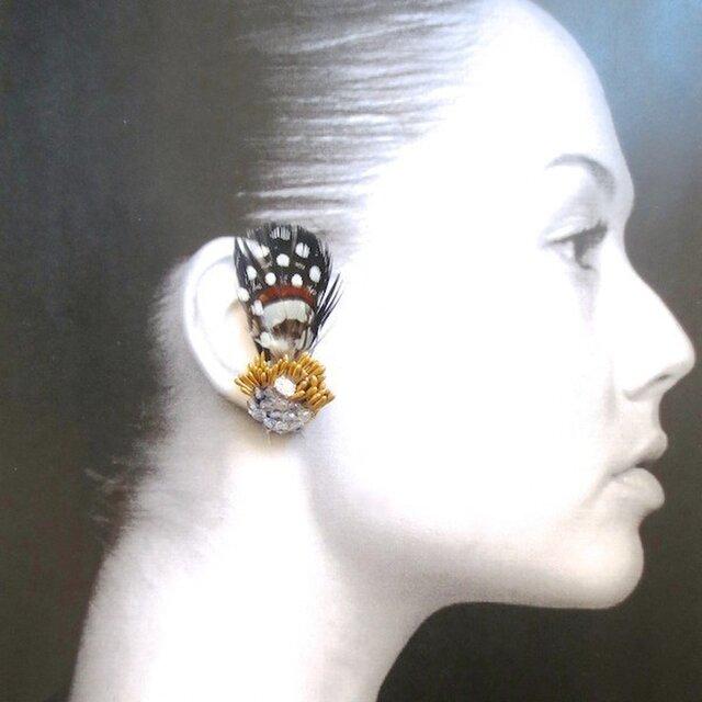 スワロフスキー社製キュービックジルコニア × 3種フェザーのイヤリングの画像1枚目