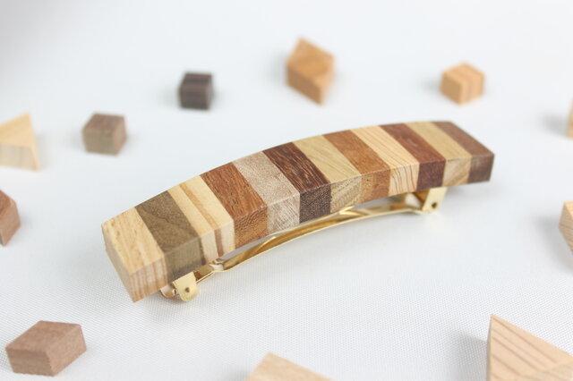 寄木のストライプバレッタの画像1枚目