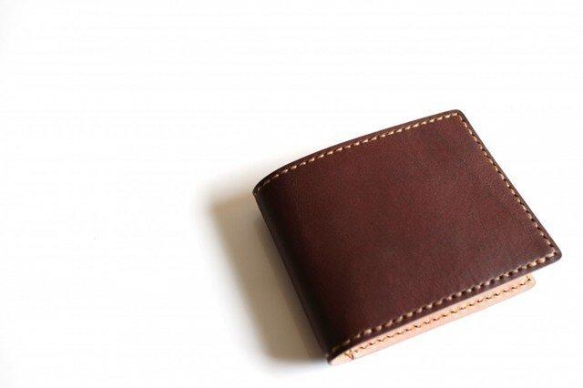 【受注生産品】二つ折り財布 ~栃木アニリン茶×栃木サドル~の画像1枚目