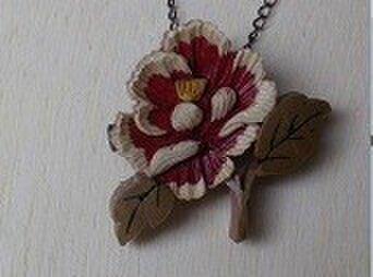 木象嵌細工:牡丹のネックレスの画像1枚目