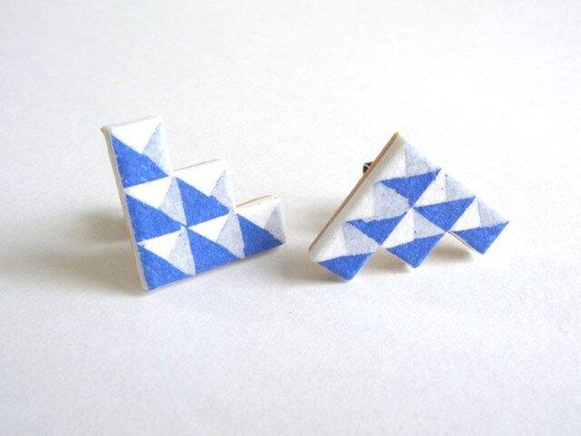 :Sale: ブロック柄ピアス  S <Blue>の画像1枚目
