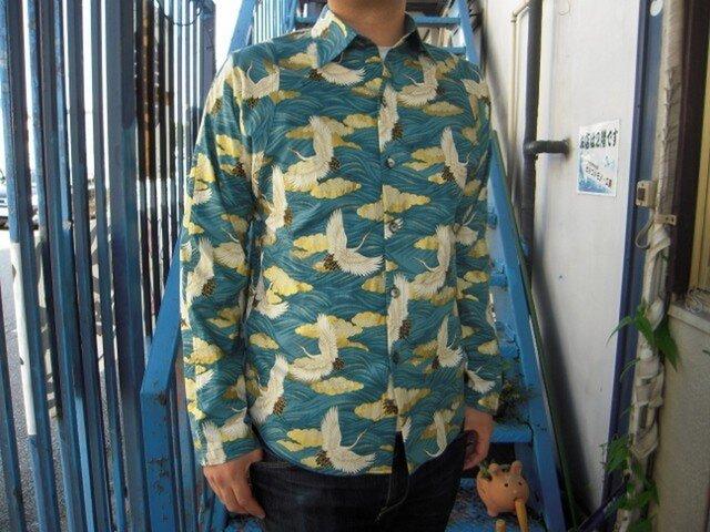 長袖和柄シャツ(波模様に雲と鶴)の画像1枚目