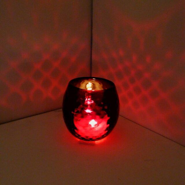 赤いダイヤ柄キャンドルホルダーの画像1枚目