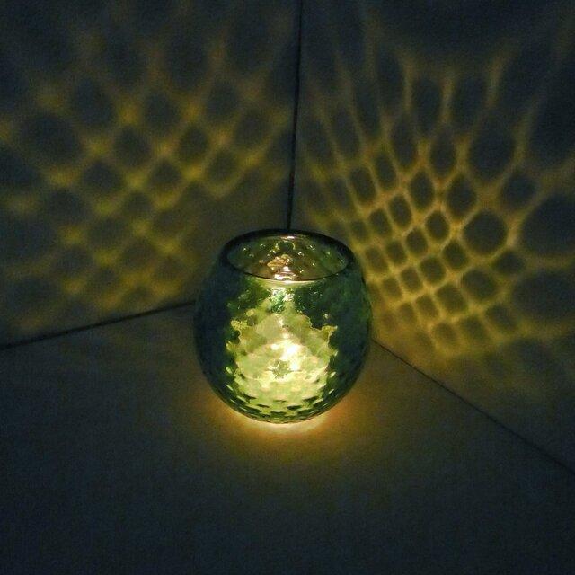 緑色のダイヤ柄キャンドルホルダーの画像1枚目