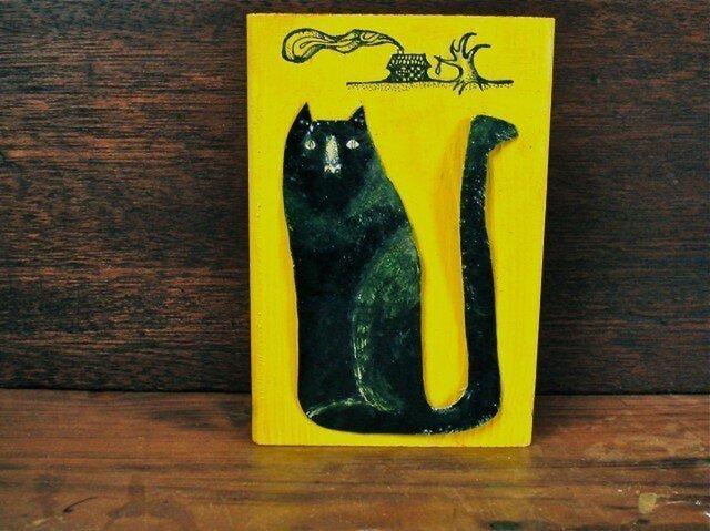 wood painting ★ black catの画像1枚目