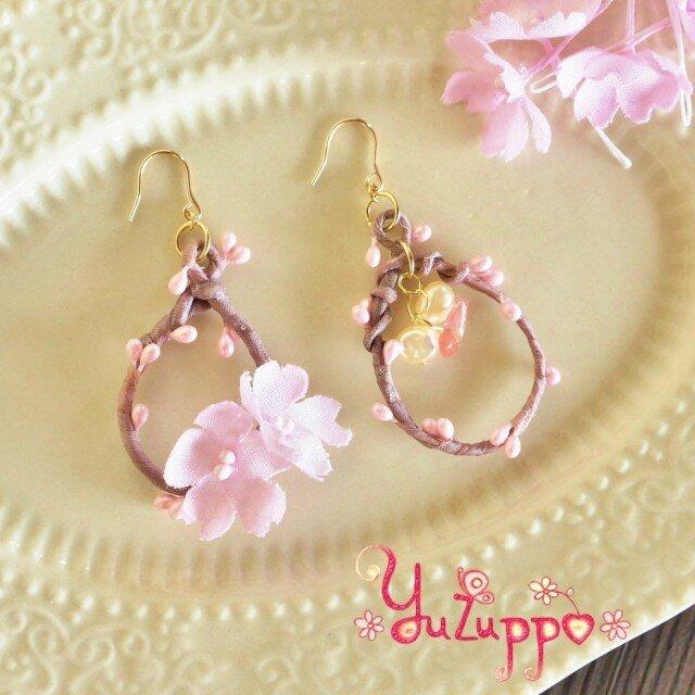 桜の小枝ピアス(k14gf)の画像1枚目