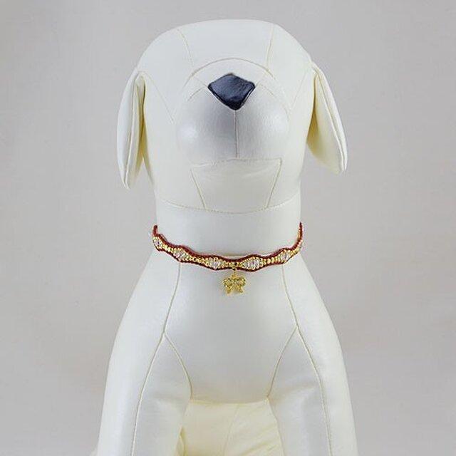 ウェーブクリスタルネックレス・レッド/ペット用(サイズ別注有)の画像1枚目