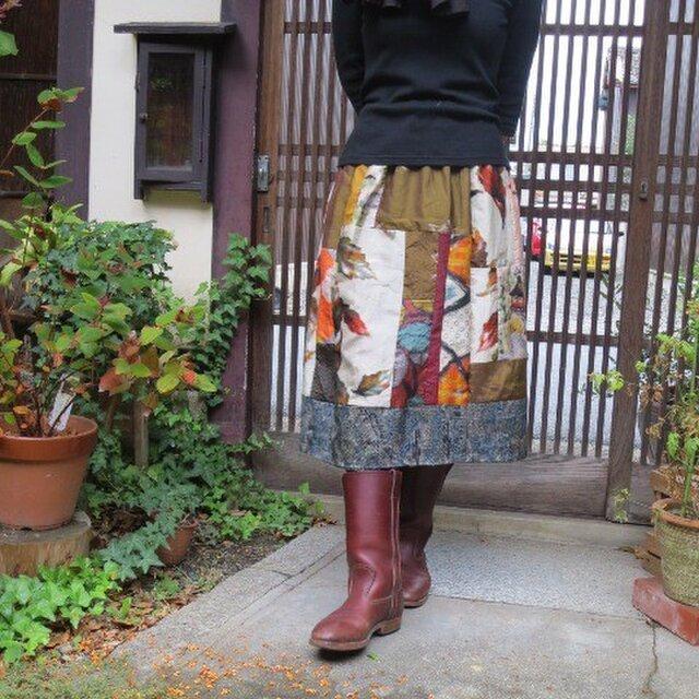 秋の風情でリメイクスカート☆裾大島紬・木の葉銘仙色々♪の画像1枚目