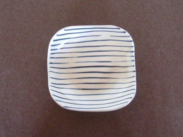 足付角皿(大)呉須絵 縞の画像1枚目