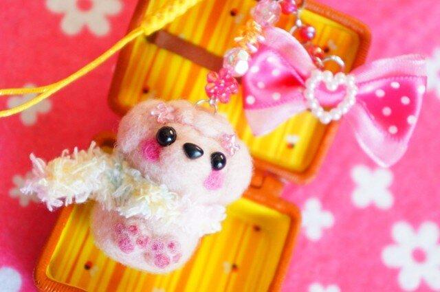 トイプードル(ピンク)ピンクリボンストラップ☆の画像1枚目